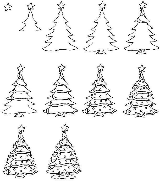 Картинки для, поэтапно нарисовать новогодние открытки