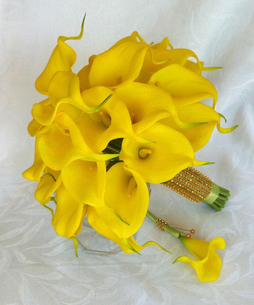 Букетов, желтые калл букет невесты купить