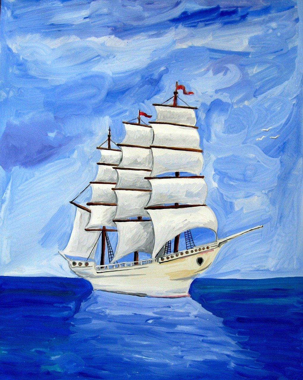 Хорошим пожеланием, корабль открытка с днем рождения