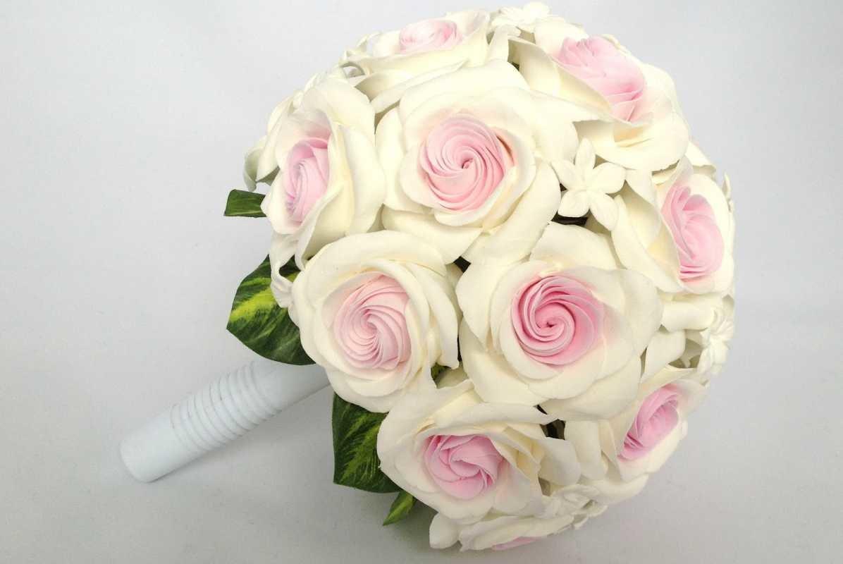 Искусственный свадебный букет своими руками, розы