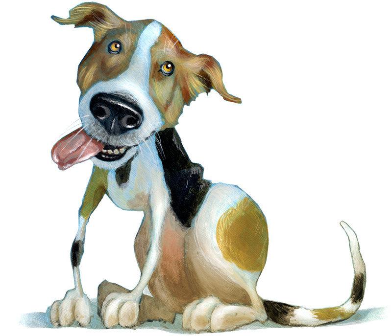 Днем, смешной детский рисунок собаки