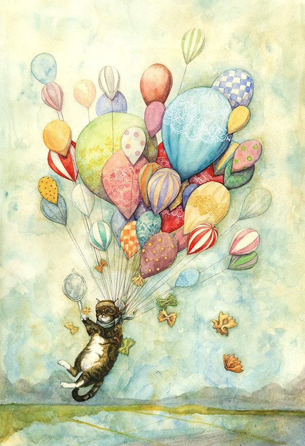 Открытка шарики с днем рождения нарисованные