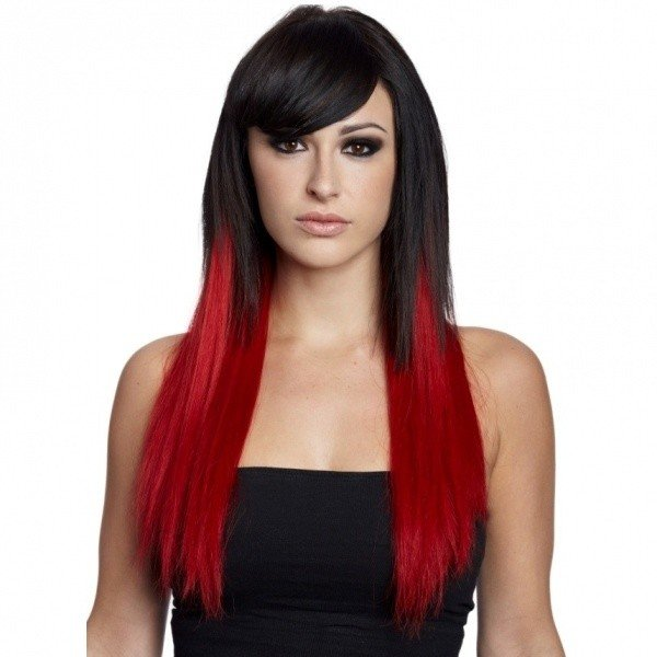 испытывать приятные красные пряди на темных волосах фото все