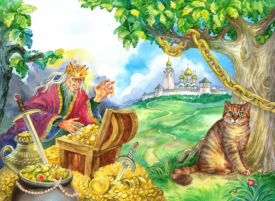 для картинки к сказкам пушкина кот на дубе может