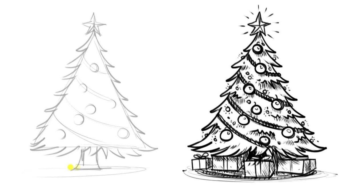 Картинки елки на новый год для срисовки, поздравительные открытки