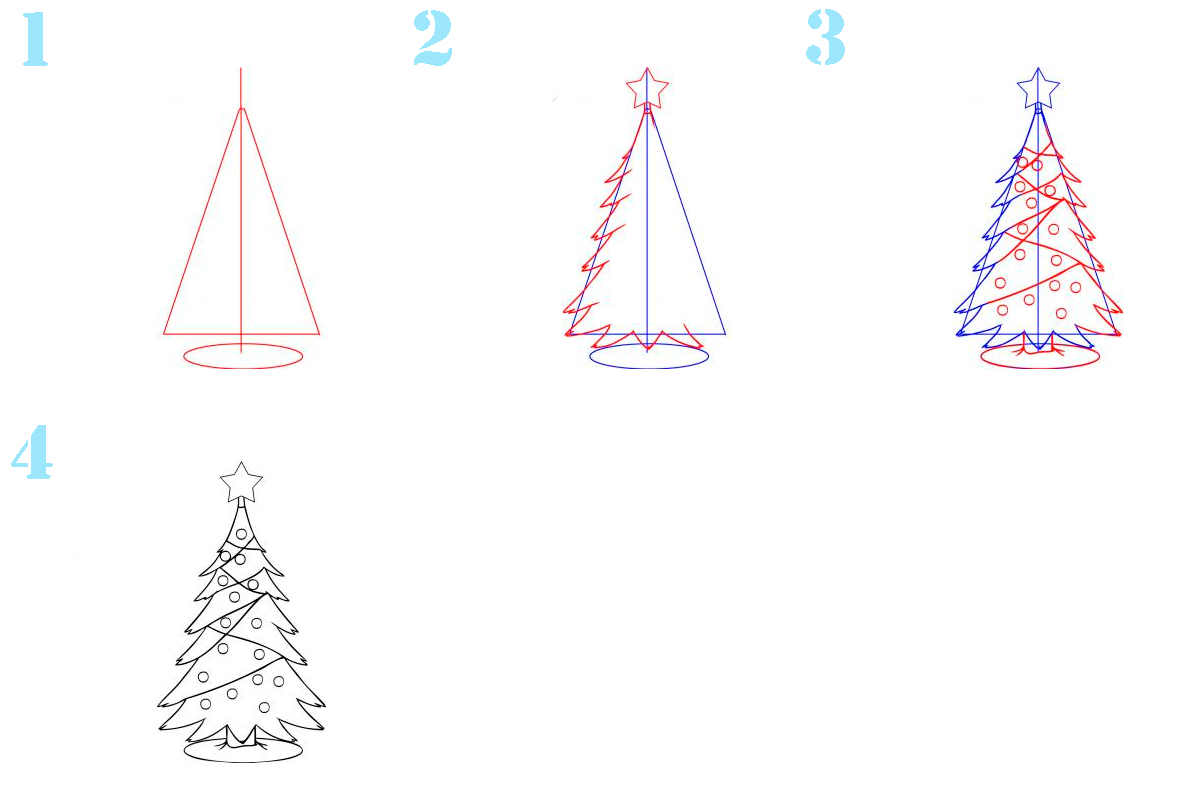 картинки елка карандашом поэтапно для тому