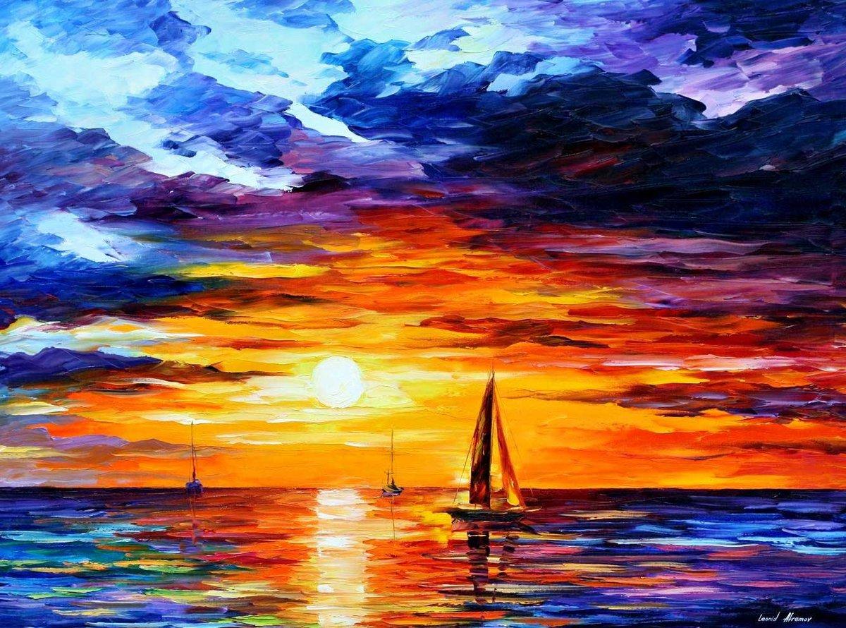 Открыток, закат на море картинки красками