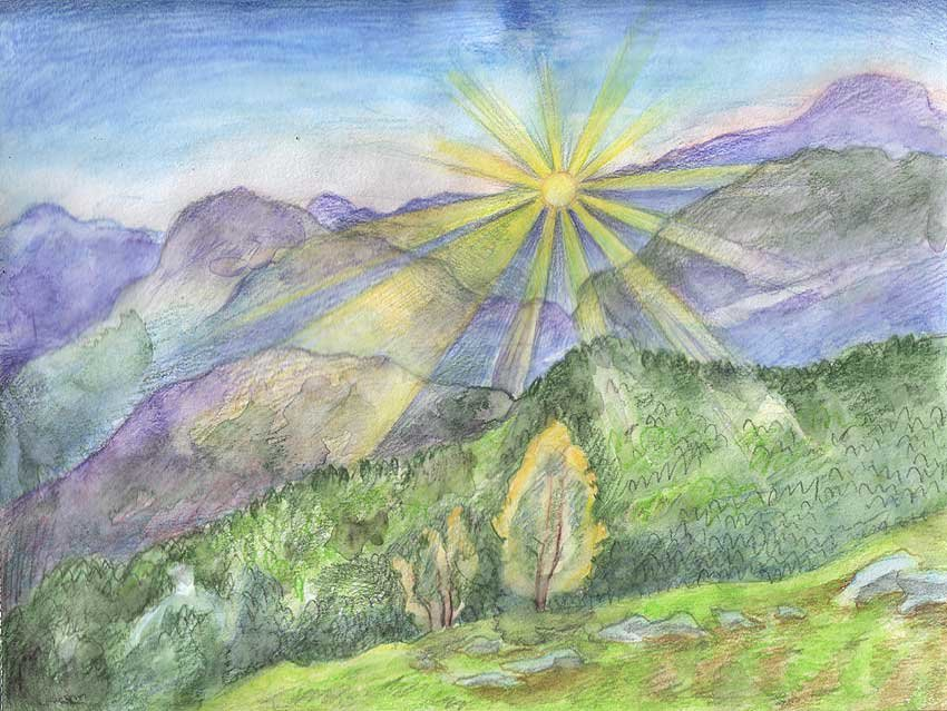 картинки гор как нарисовать цветными