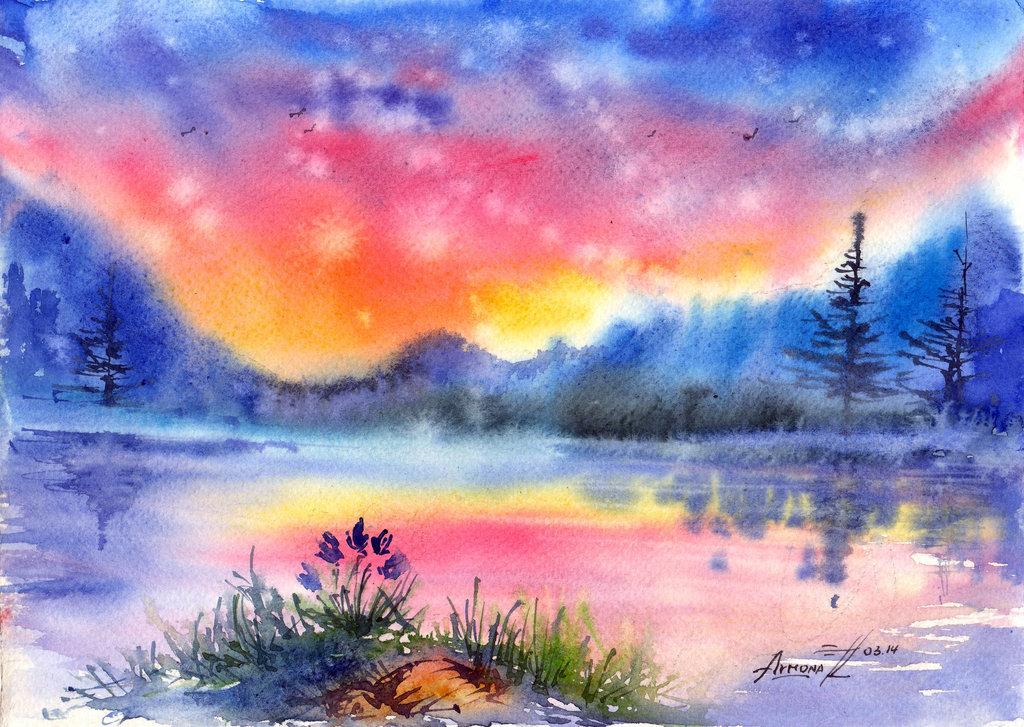 символ пейзаж акварелью по мокрому картинки этом рейтинге