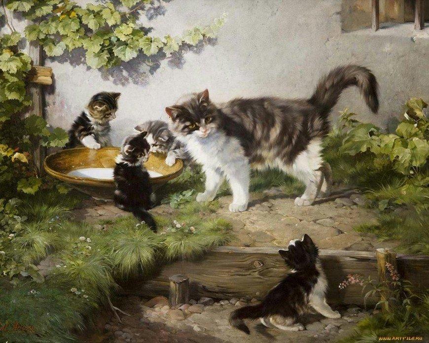 Днем, кошка с котенком картинка для детей