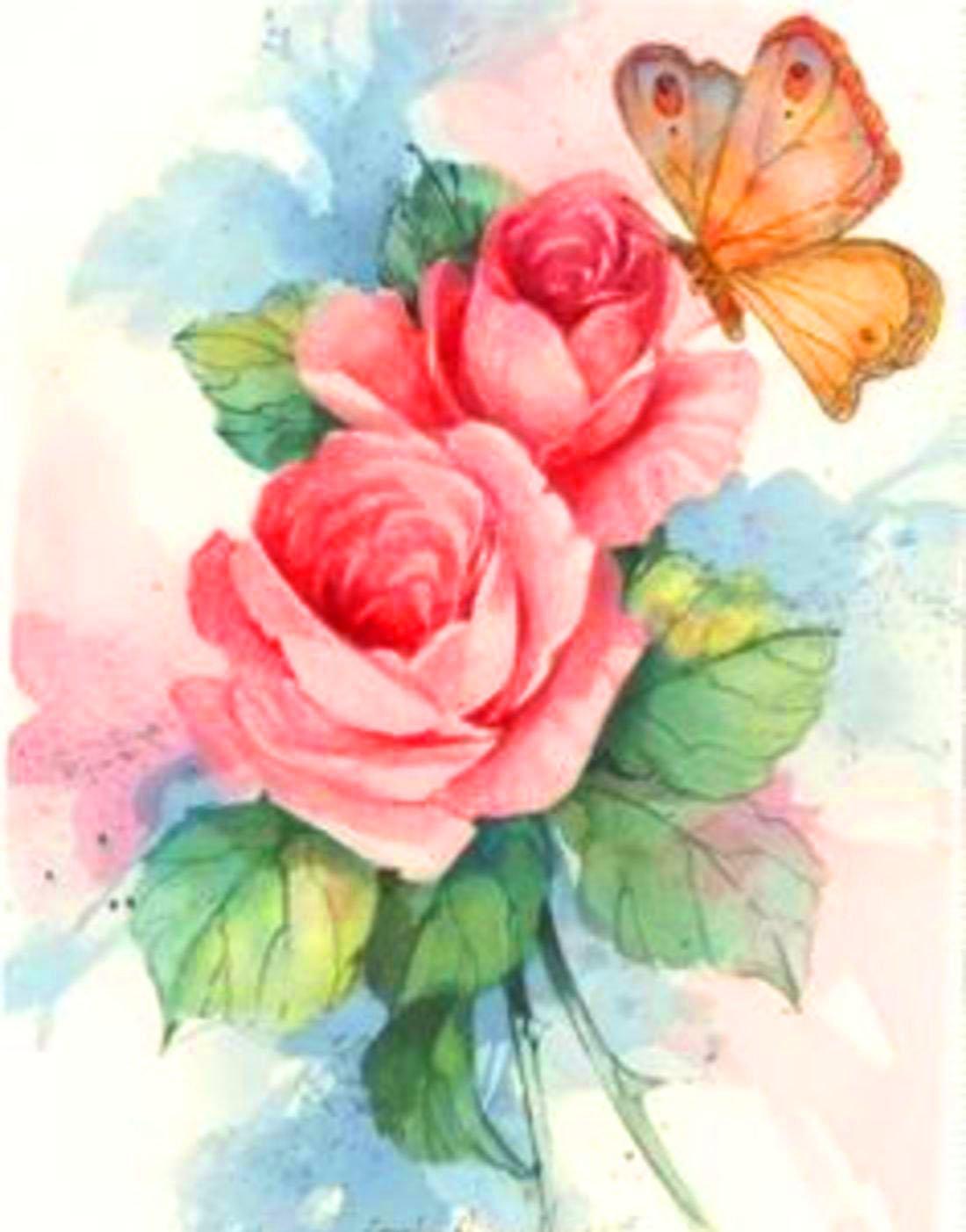 Нарисованные розы открытка