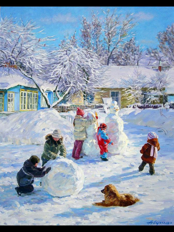 Зимние картинки дети играют во дворе