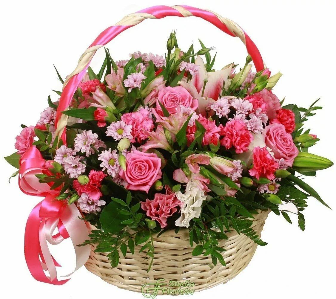 Открытка с днем рождения большая корзина роз