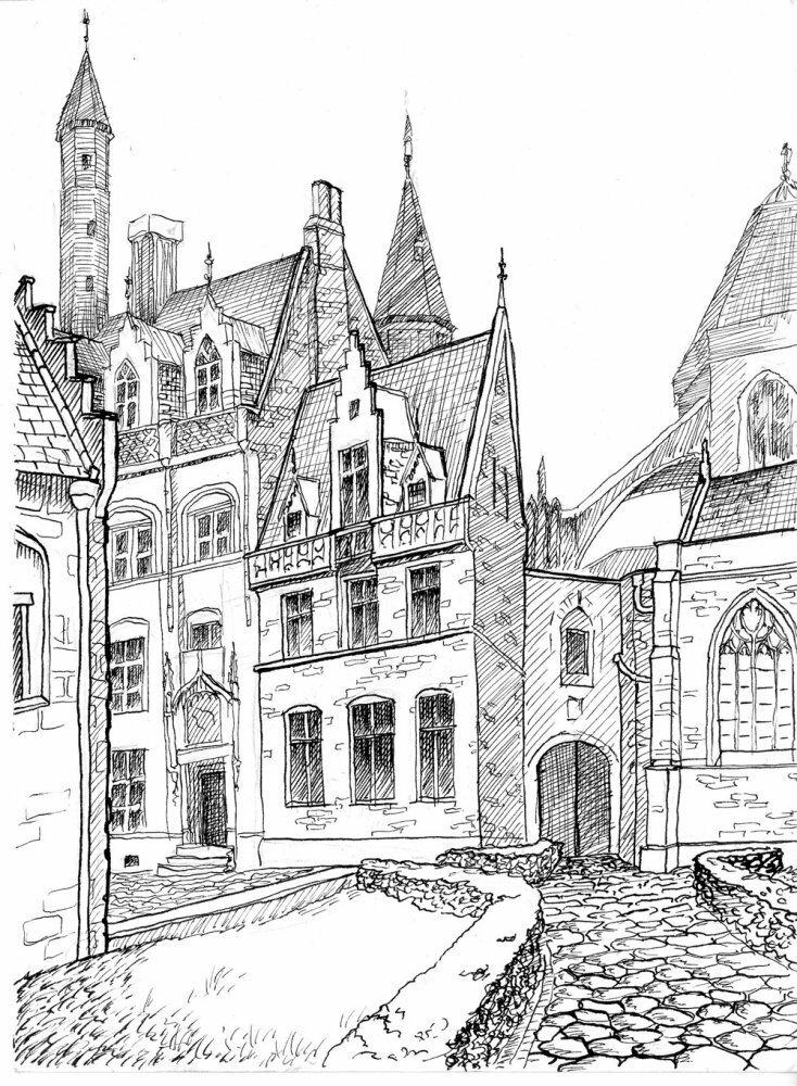 Старинный город картинки карандашом