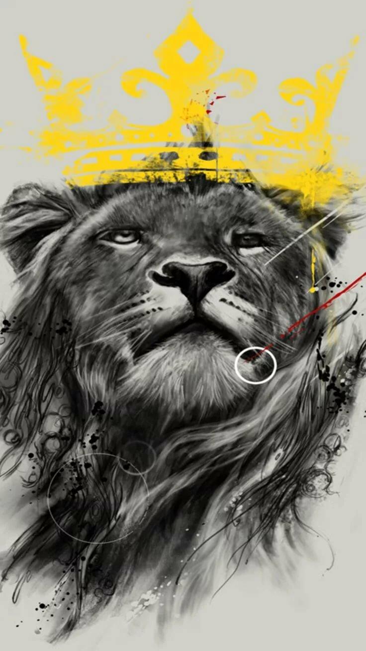 картинка на обои лев в короне цементном блоке, напоминающим