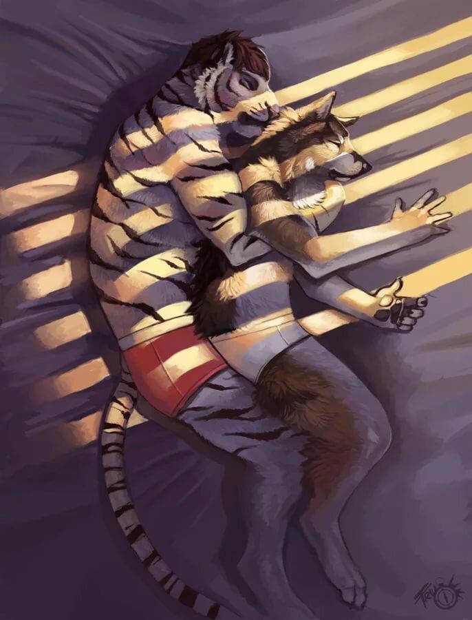 тигр обнимает лису картинка