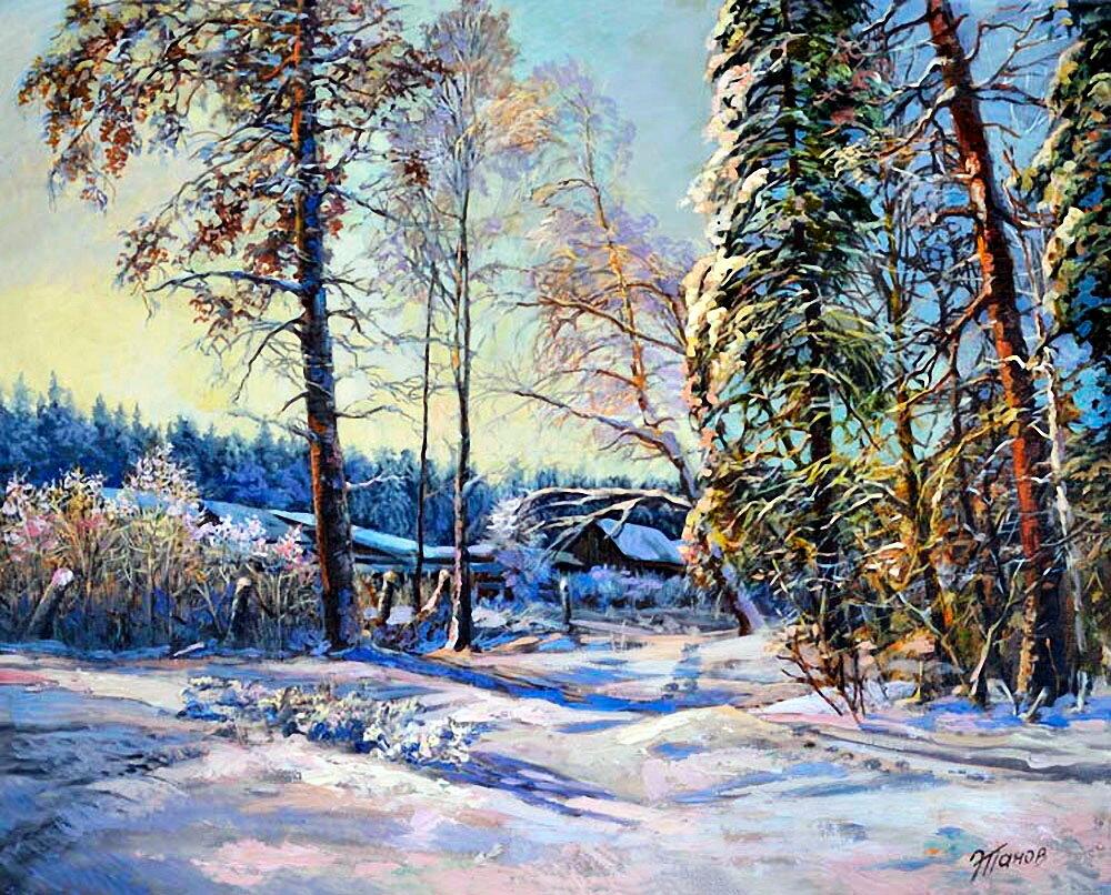 стильная гостиная картинка художников о зиме с авторами последние дни