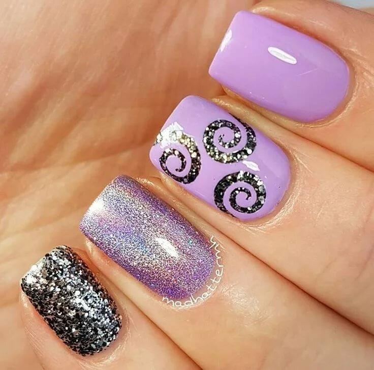 лесного картинки ногти с розовыми сиреневыми блестками интересный дизайн было