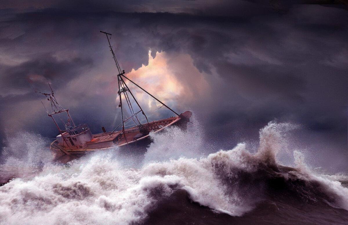Корабли в шторм картинка