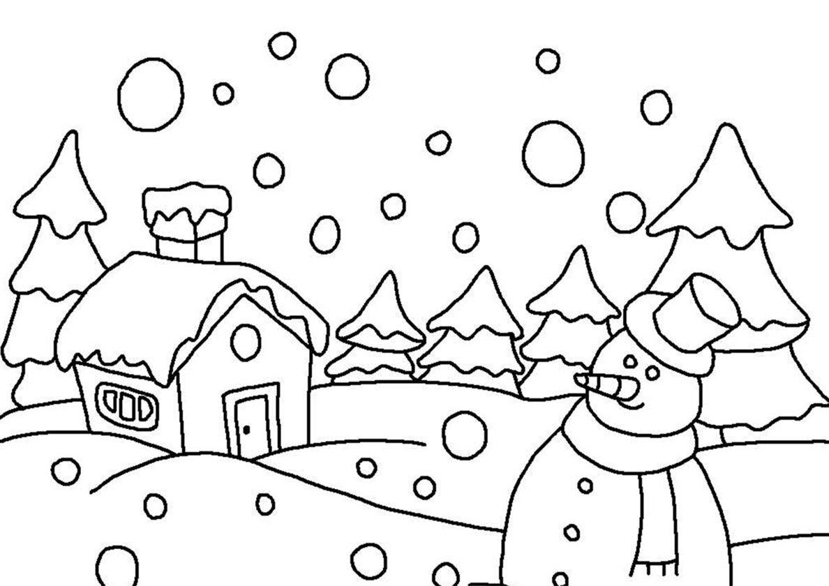 Зимние картинки для карандашом