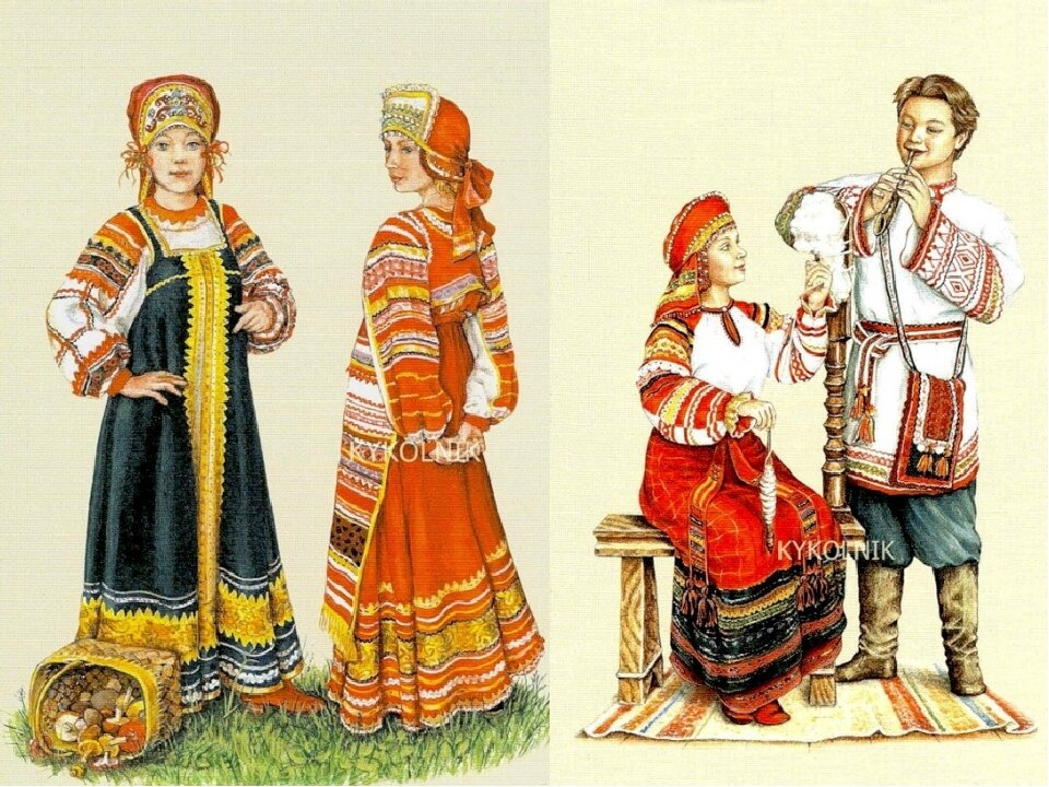 Картинки русские народные костюмы 2 класс