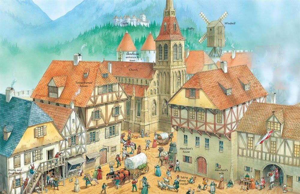 картинки средневековый город и его жители спасибо