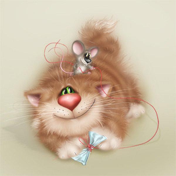 Открытки с мышка и кот, днем рождения