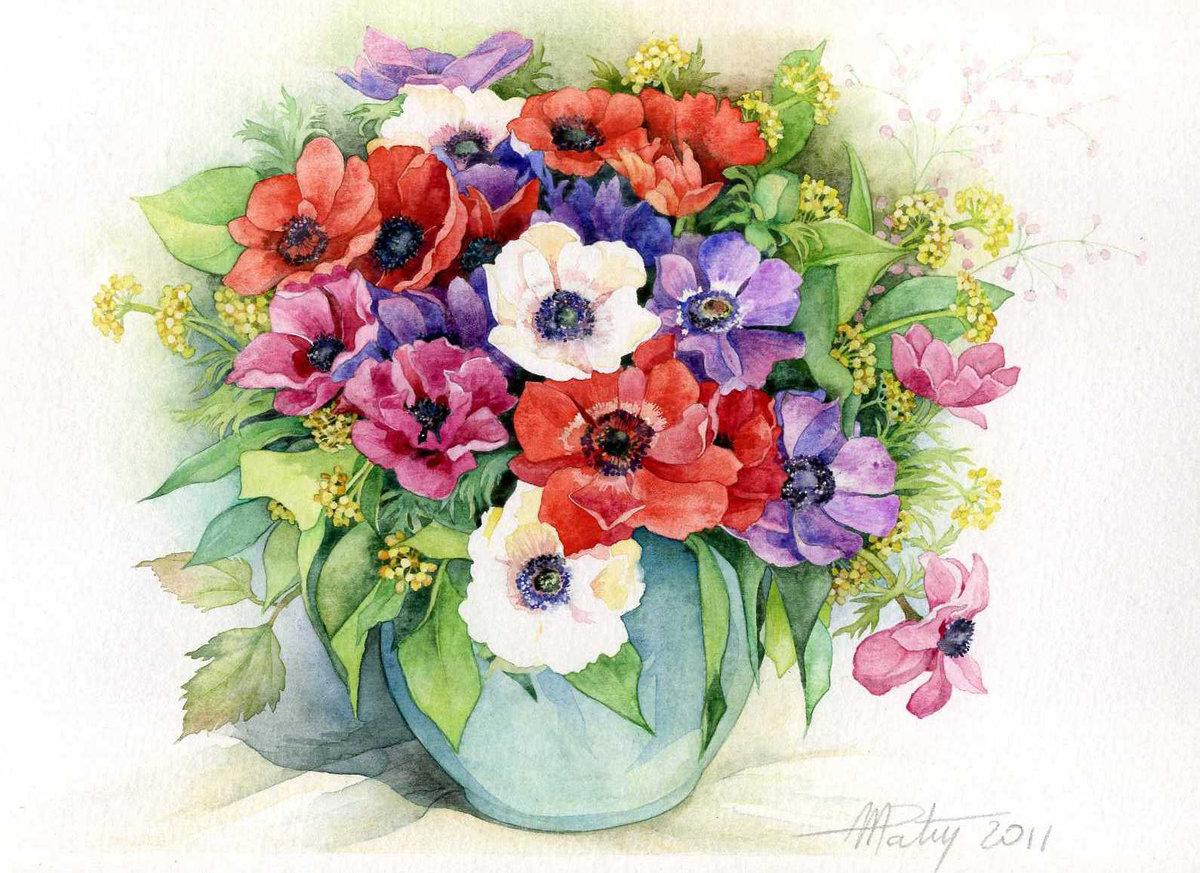 Открытка с цветами нарисованные, картинки дед морозом