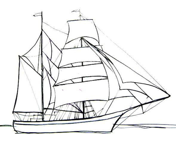 Корабль с парусом рисунок этом