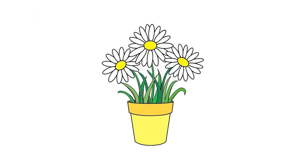 картинки как нарисовать цветок в горшке сразу хорошо размешать