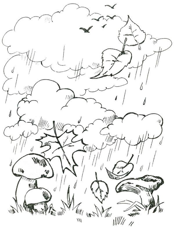 Рисунки черно белые про осень