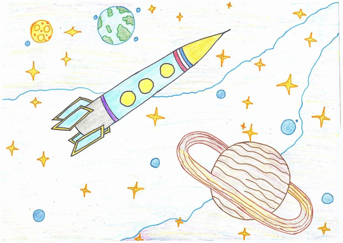 Рисунок с ракетой и планетами