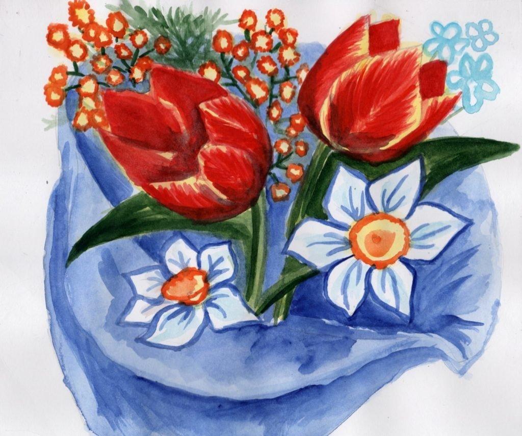 Сердечками белыми, открытка на 8 марта 4 класс рисунок