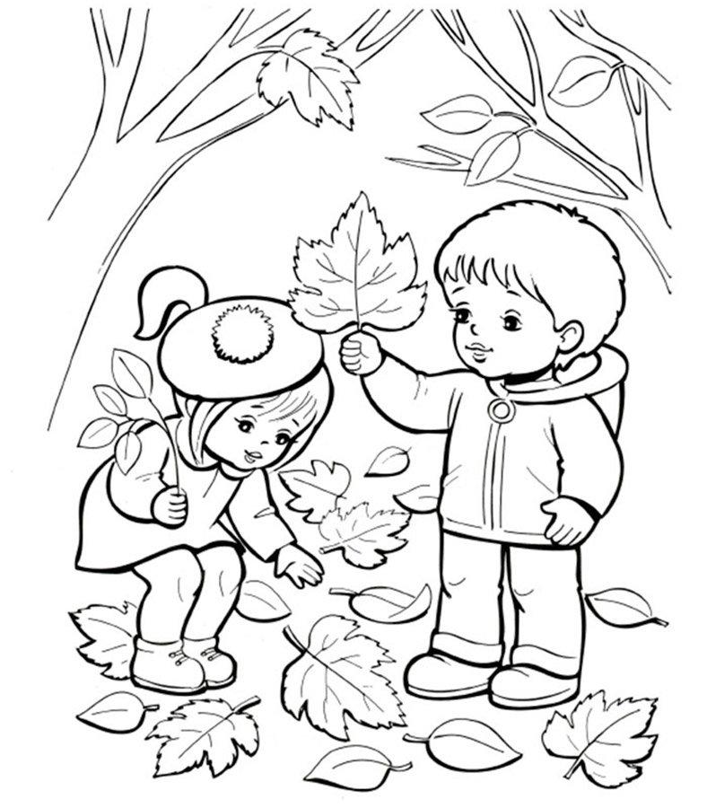Для смс, детская раскраски про осень