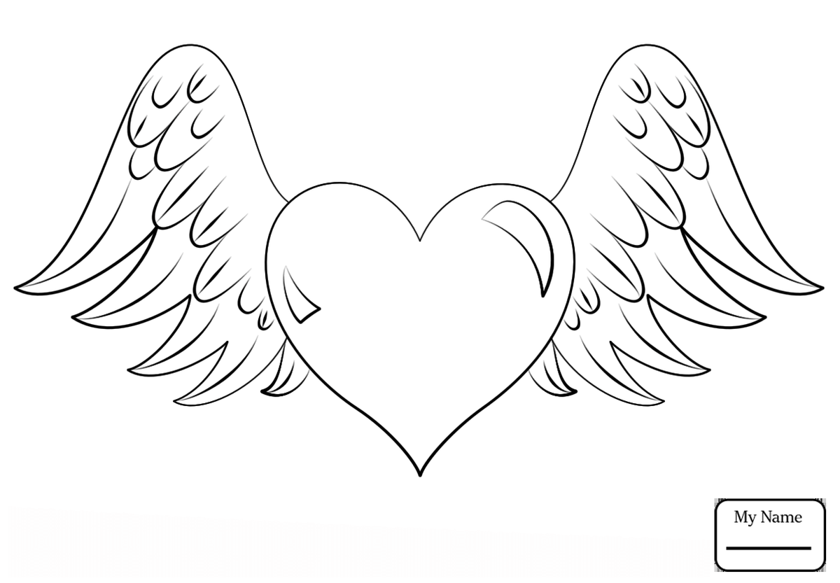 heart with wings coloring page free printable coloring pages - 1000×695