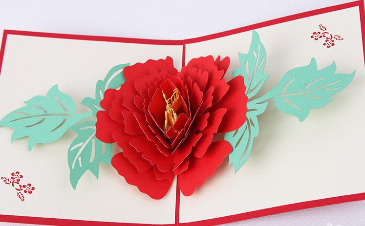 Открытка кармашками, открытка с цветами на развороте