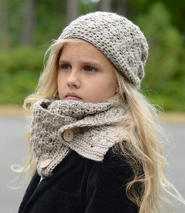 вязаный шарф снуд на пуговицах для девочки карточка