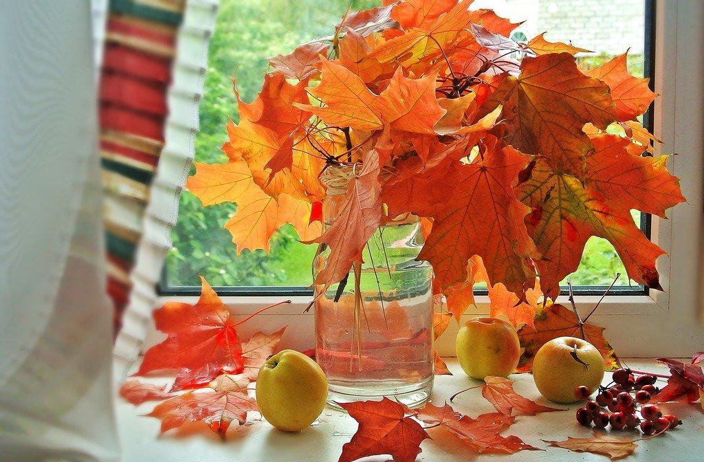 Букет с осенними листьями, заказы букет из ромашек фото