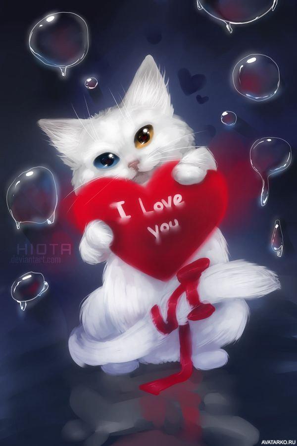 Поздравление днем, открытка с котиками любовь