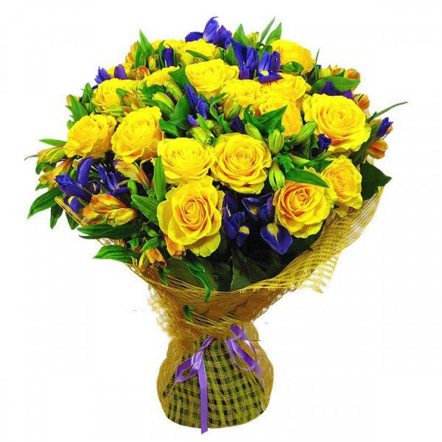 Желтые роза ирисы букет, комнатные