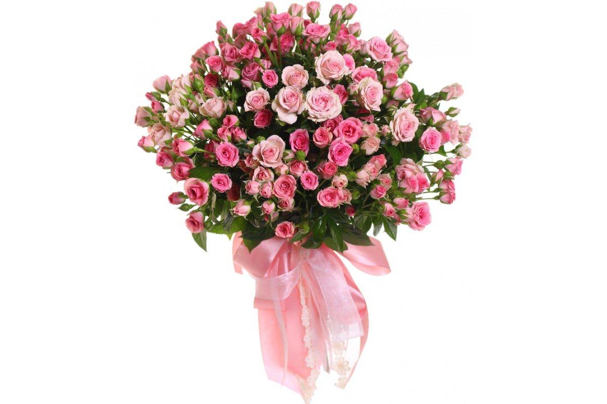 несколько красивый букет из мелких роз учился хорошо, был
