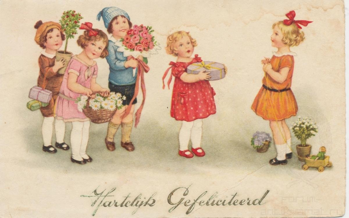 С днем рождения старинные открытки сестре