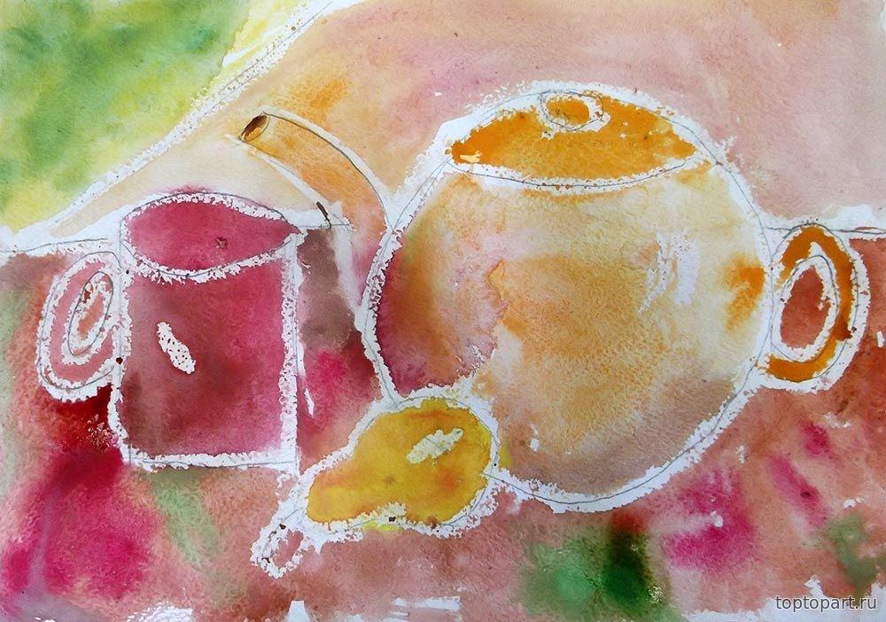 Рисунок восковыми мелками и акварелью поэтапно