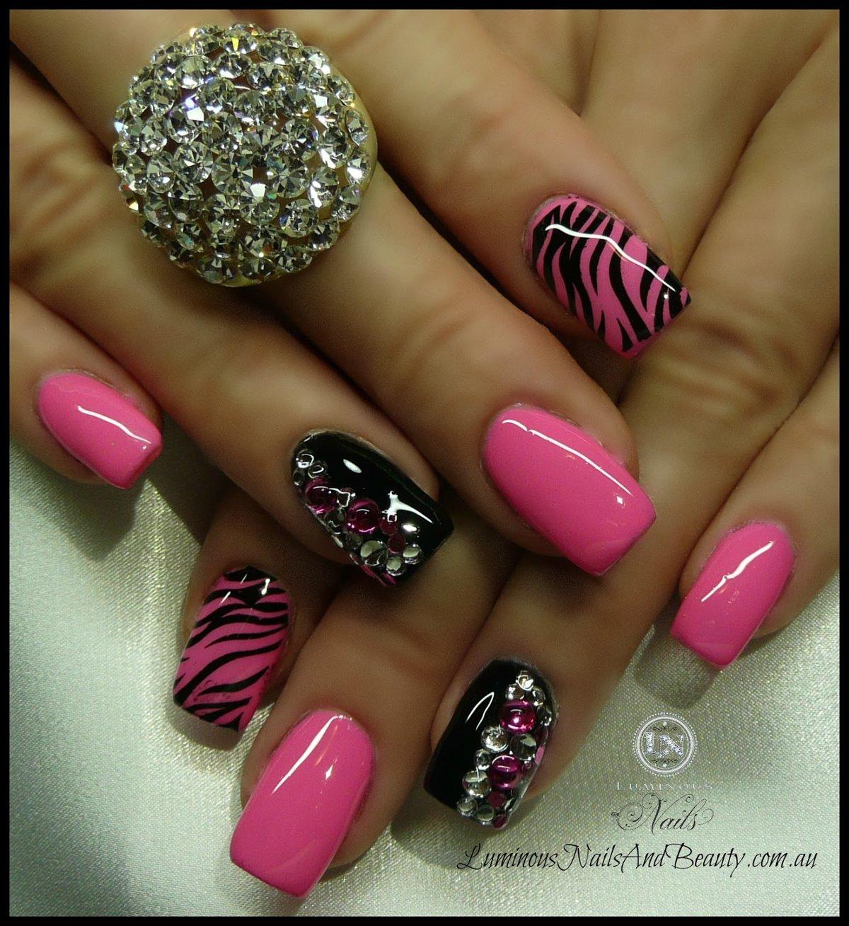 Pink And Black Zebra Nail Design Hot Pink Black Nails Wi Card