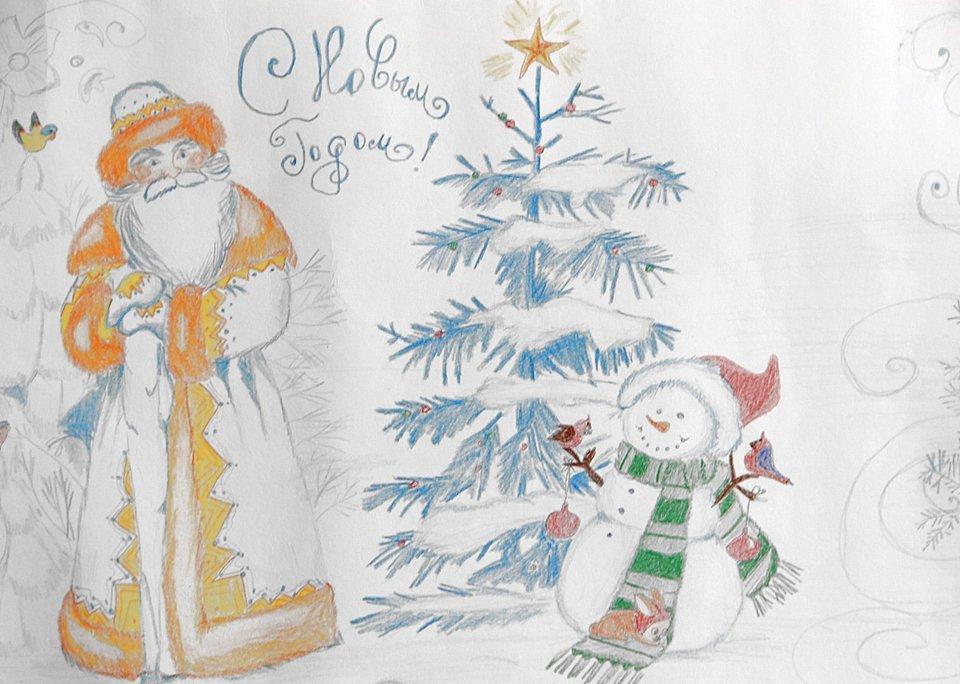 Наступающим 2017, открытка новогодняя рисунок карандашом