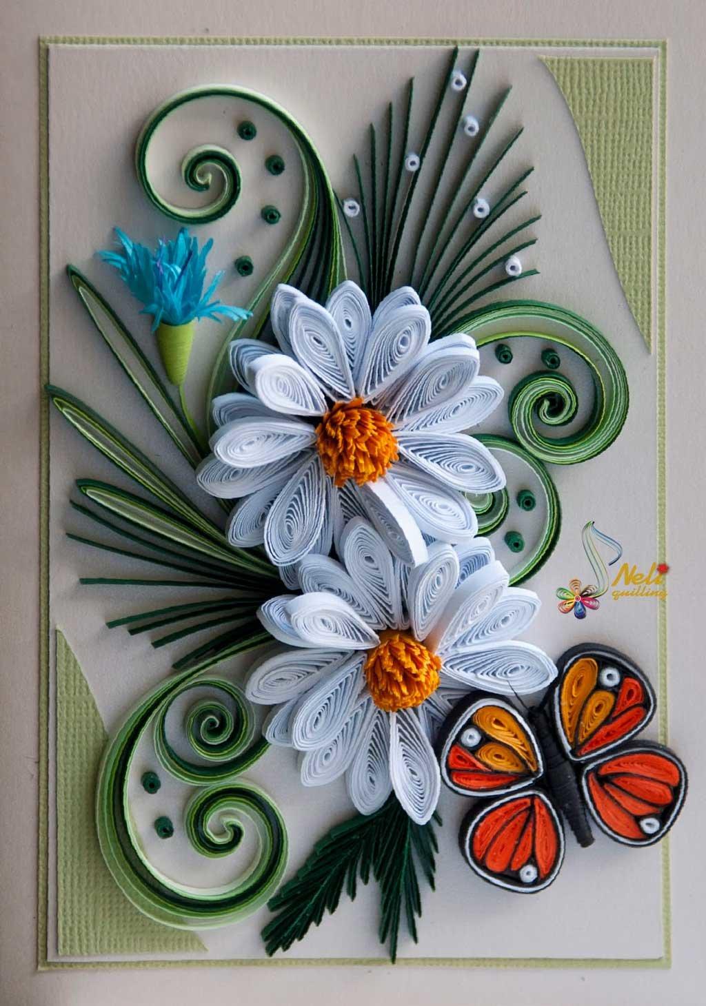 Квиллинг открытка из цветов, надписями такси