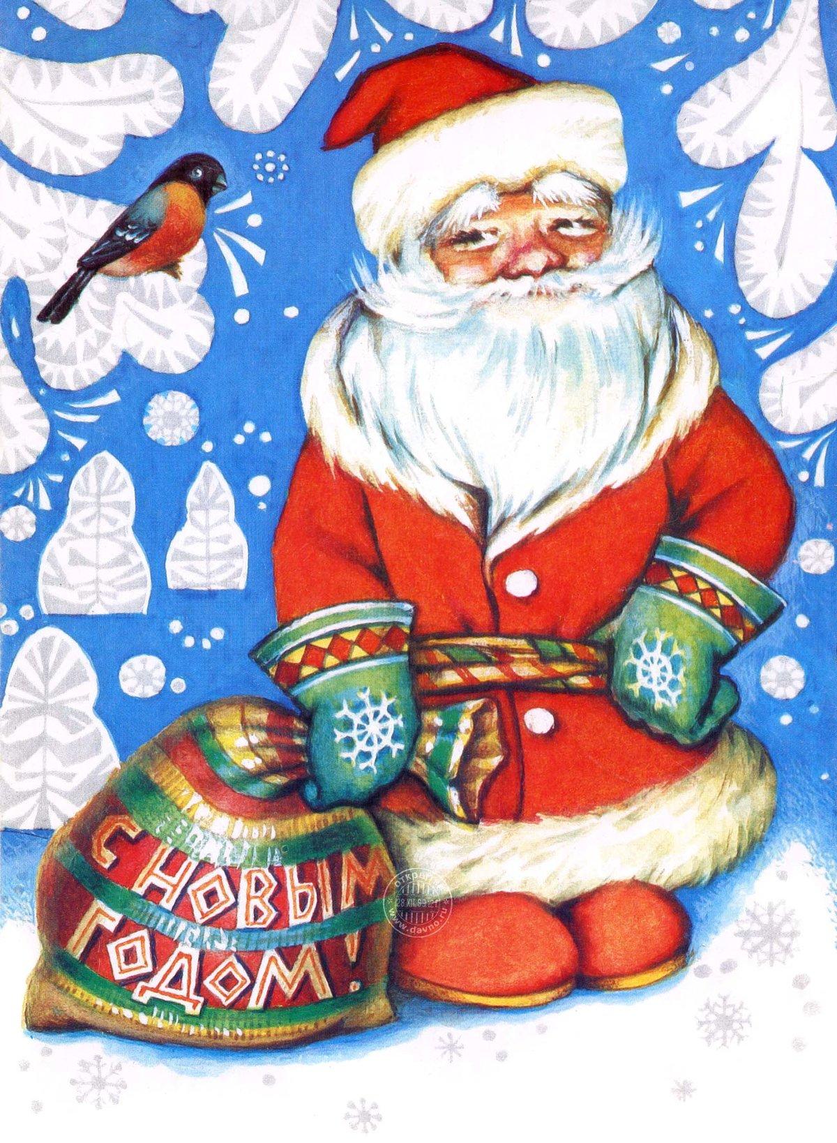 Классический рисунок русского деда Мороза — гуашь, открытка