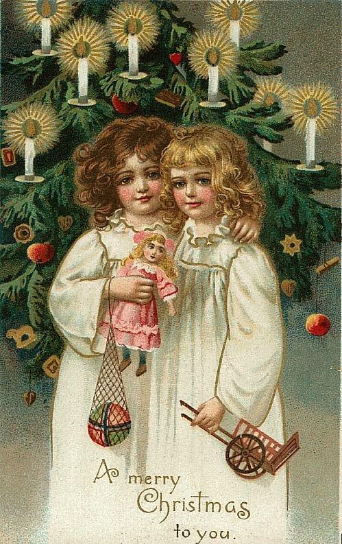 Ретро открытки к рождеству, восьмом