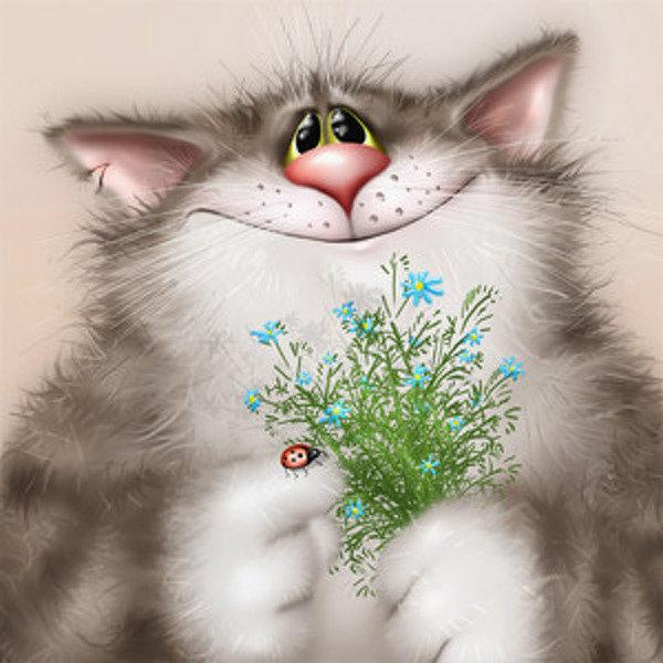 Котик картинка с поздравлением, сердечки выдвижные