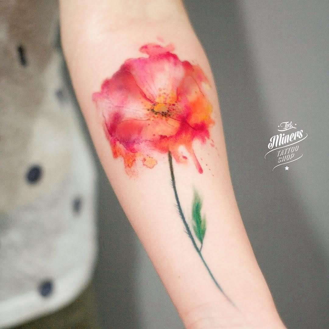 watercolor tattoo flower - 640×1024